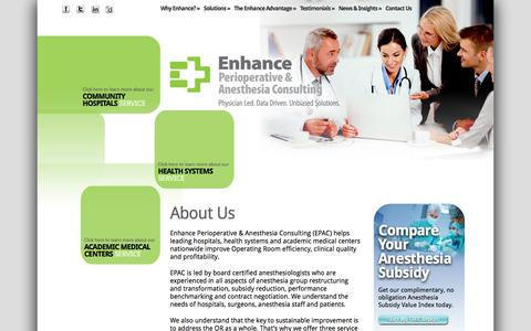 Screenshot of About Page enhancehc.com - About Us-Enhance Perioperative and Anesthesia Consulting - captured Oct. 3, 2014