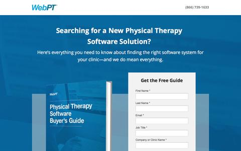 Screenshot of Landing Page webpt.com - WebPT | Physical Therapy Software Buyers Guide - captured Oct. 30, 2016