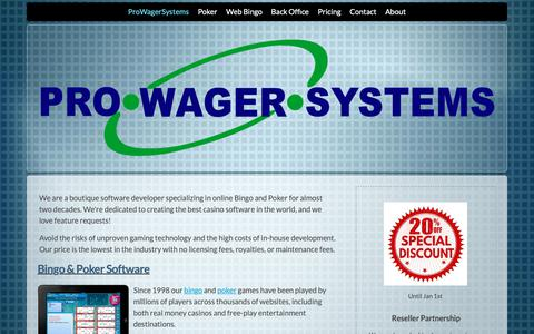 Screenshot of Home Page About Page prowagersystems.com - Bitcoin Poker Software for Websites - captured Dec. 8, 2018