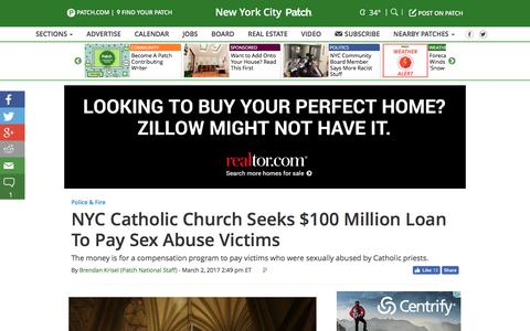 Screenshot of patch.com - NYC Catholic Church Seeks $100 Million Loan To Pay Sex Abuse Victims - New York City, NY Patch - captured March 3, 2017