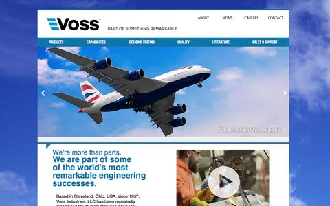 Screenshot of Home Page vossind.com - Voss Industries   Home - captured Oct. 7, 2014