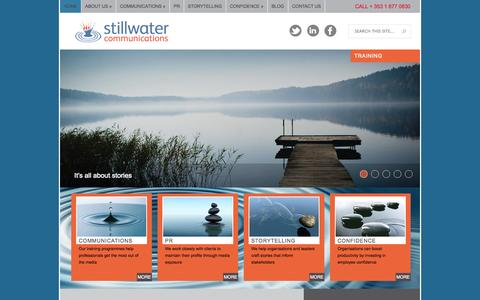 Screenshot of Home Page stillwater.ie - Media Training | Public Relations | Storytelling | Stillwater Communications - captured Oct. 7, 2014