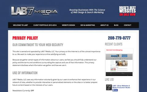 Screenshot of Privacy Page lab7media.com - Privacy Policy   LAB 7 Media, LLC   Boise Website Design Studio - captured Sept. 26, 2014