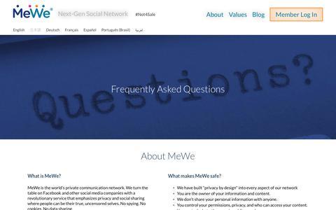 Screenshot of FAQ Page mewe.com - MeWe - The Next-Gen Social Network | FAQ - captured June 12, 2017
