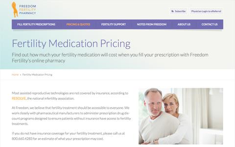Screenshot of Pricing Page freedomfertility.com - Fertility Medication Pricing Quote with Freedom - captured Nov. 25, 2016