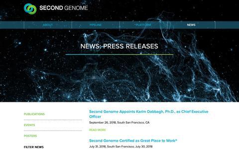 Screenshot of Press Page secondgenome.com - Second Genome   News - captured Jan. 11, 2019