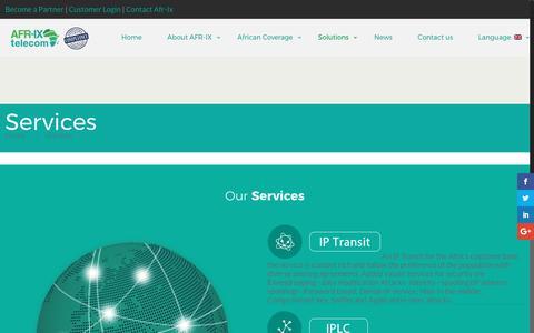Screenshot of Services Page afr-ix.com - Services - AFR-IX - captured May 28, 2017