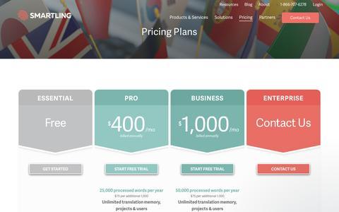 Screenshot of Pricing Page smartling.com - Matthew says... - captured April 20, 2017