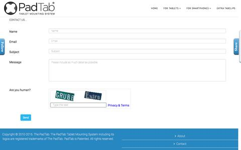 Screenshot of Contact Page thepadtab.com - PadTab Contact - captured Oct. 18, 2016