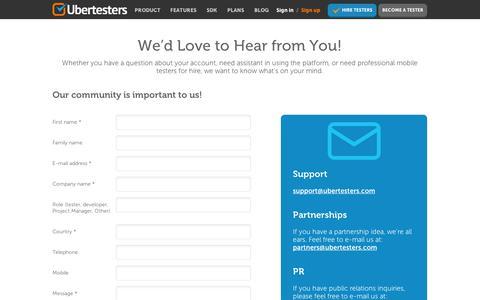 Screenshot of Contact Page ubertesters.com - Contact Us » Ubertesters - captured Sept. 11, 2014