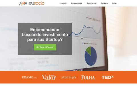 Screenshot of Home Page eusocio.com.br - Eusocio: Investimento online, financiamento coletivo - captured Dec. 12, 2015
