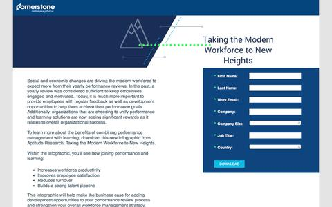 Screenshot of Landing Page cornerstoneondemand.com - CSOD   Take your Modern Workforce to New Heights - captured April 9, 2018