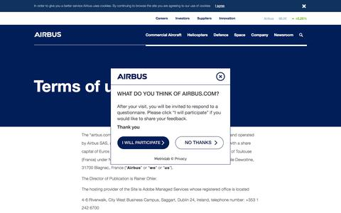 Screenshot of Terms Page airbus.com - Terms of use - captured July 4, 2018