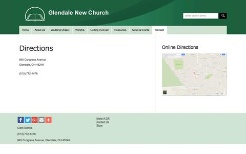 Screenshot of Maps & Directions Page glendalenewchurch.org - Directions  : Glendale New Church - captured June 18, 2016