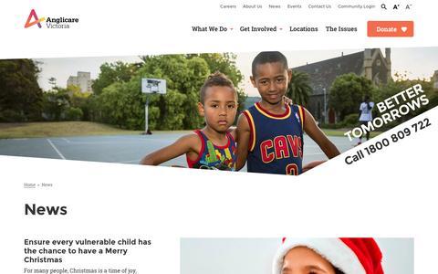 Screenshot of Press Page anglicarevic.org.au - News - Anglicare Victoria - captured Nov. 21, 2016