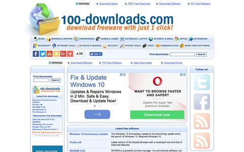 Screenshot of Home Page 100-downloads.com - Free Software for Windows   100-downloads.com - captured Aug. 31, 2016