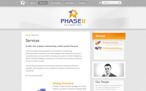 Screenshot of Services Page phase-ii.com - Services - PHASE II - The full service medical marketing specialists - captured Sept. 29, 2014