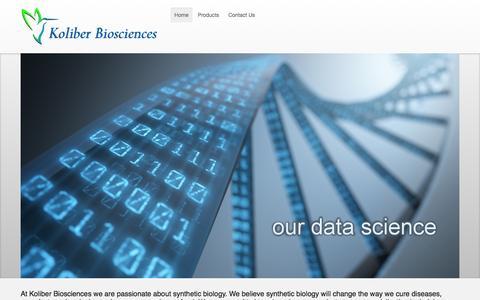 Screenshot of Home Page koliberbio.com - Home - captured Feb. 12, 2016