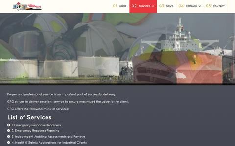 Screenshot of Services Page globalrespondersgroup.com - GRG | Services - captured Sept. 30, 2014