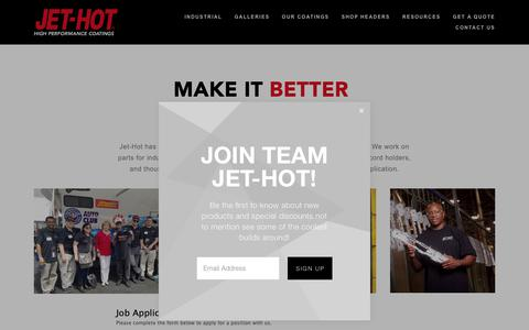 Screenshot of Jobs Page jet-hot.com - Apply For A Job with Jet-Hot — Jet-Hot - captured Feb. 23, 2019