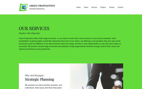 Screenshot of Services Page greenproposition.com - Services | Dubai - United Arab Emirates | Green Proposition - captured Sept. 30, 2018