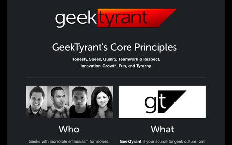 Screenshot of About Page geektyrant.com - About — GeekTyrant - captured Sept. 18, 2014