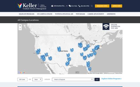 Screenshot of Locations Page keller.edu - Graduate Schools By Programs   Keller Graduate School of Management - captured Feb. 2, 2016