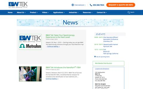 Screenshot of Press Page bwtek.com - News Archive - B&W Tek - captured Oct. 24, 2019