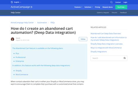 Screenshot of Support Page activecampaign.com - How do I create an abandoned cart automation? (Deep Data integration) – ActiveCampaign Help Center - captured June 18, 2019