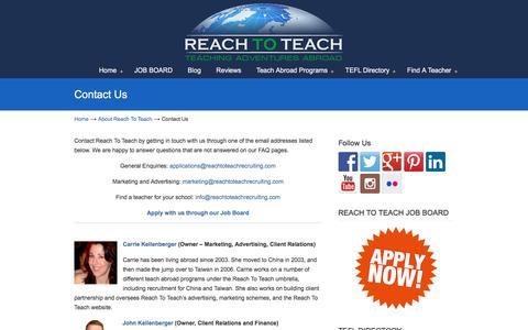 Screenshot of Contact Page reachtoteachrecruiting.com - Contact Reach to Teach - captured Aug. 12, 2016