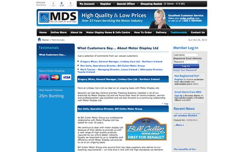 Screenshot of Testimonials Page motordisplay.com - Testimonials - What Customers Say About Motor Display Ltd, Car display products, Key tag, Tax disc holder, Motor display products - captured Oct. 26, 2014