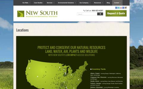 Screenshot of Locations Page newsouthmat.com - Inventory Yards & Job Sites Throughout The United States    New South - captured Feb. 16, 2016
