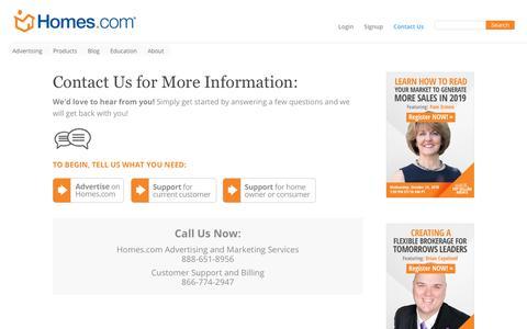 Screenshot of Contact Page homes.com - Contact Us - Homes.com - captured Oct. 24, 2018