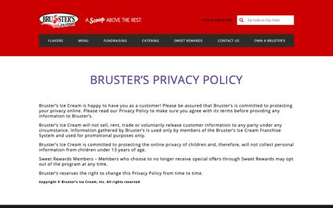 Screenshot of Privacy Page brusters.com - Brusters - captured Oct. 6, 2018