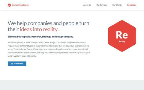 Screenshot of Home Page elementstrategies.com - Element Strategies - captured Oct. 6, 2014
