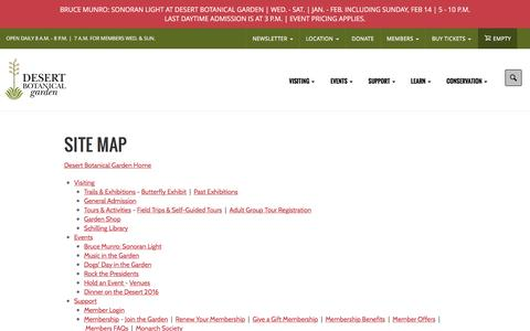 Screenshot of Site Map Page dbg.org - Site Map | Desert Botanical Garden - captured Feb. 7, 2016