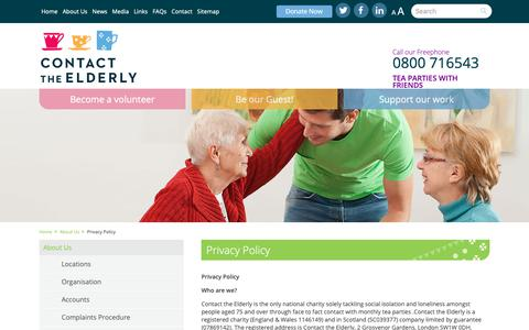 Screenshot of Privacy Page contact-the-elderly.org.uk - Contact the Elderly - captured Nov. 5, 2018
