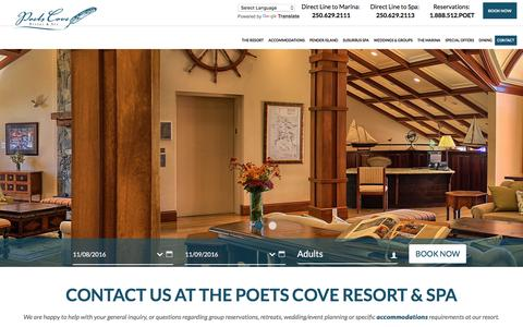Screenshot of Contact Page poetscove.com - Contact Us - Poets Cove Resort & Spa on Pender Island BC - captured Nov. 9, 2016