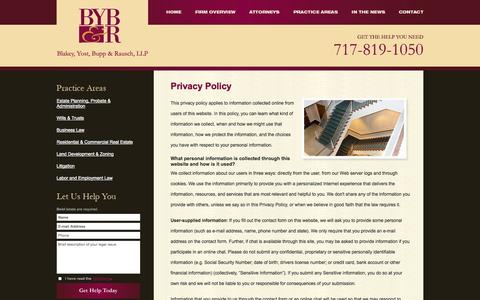 Screenshot of Privacy Page blakeyyost.com - Privacy Policy | Blakey, Yost, Bupp & Rausch, LLP | York, Pennsylvania - captured Oct. 5, 2014