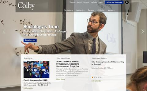 Screenshot of Home Page colby.edu - Colby College - captured Oct. 24, 2015