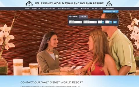 Screenshot of Contact Page swandolphin.com - Disney World Hotel | Contact Swan and Dolphin | SwanDolphin.com - captured Nov. 3, 2014