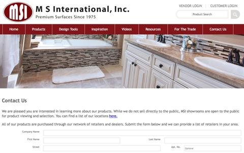 Screenshot of Contact Page msistone.com - Contact Us | To Request Additional Information about MSI's Premium Natural Stone         products | M S International, Inc. - captured Dec. 23, 2015
