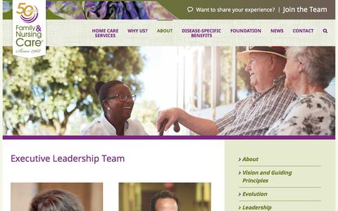 Screenshot of Team Page familynursingcare.com - Executive Leadership Team | Family & Nursing Care - captured Aug. 12, 2018