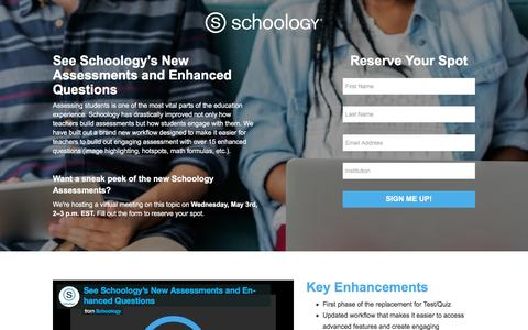 Screenshot of Landing Page schoology.com - See Schoology's New Assessments and Enhanced Questions - captured April 21, 2017