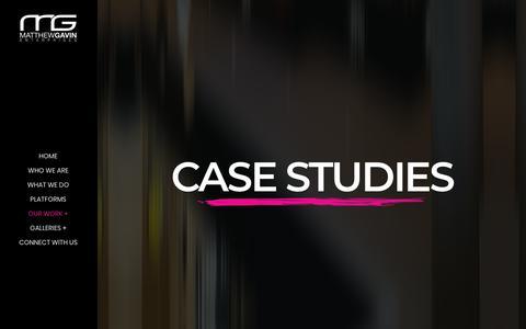 Screenshot of Case Studies Page matthewgavin.com - Case Studies – MGE – Matthew Gavin Enterprises – MGE - captured Sept. 27, 2018