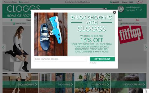 Screenshot of Home Page cloggs.co.uk - Shoe Shop with a Huge Range of Fantastic Brands for All The Family - captured Jan. 14, 2016