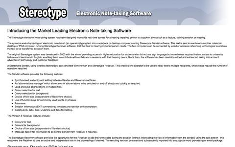 Screenshot of Home Page stereotypenotetakingsoftware.com - Stereotype Electronic Note-taking Software - captured June 15, 2016