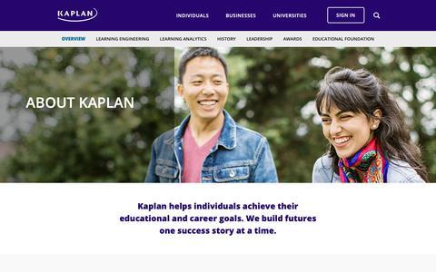 Screenshot of About Page kaplan.com - Overview - Kaplan - captured June 16, 2019