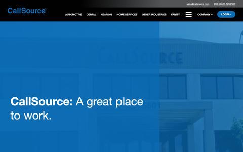 Screenshot of Jobs Page callsource.com - (2) New Messages! - captured Feb. 9, 2019