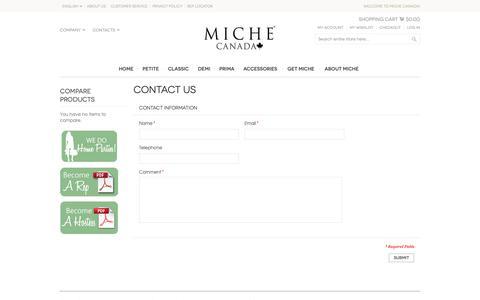 Screenshot of Contact Page michebag.ca - Contact Us - captured Oct. 18, 2018